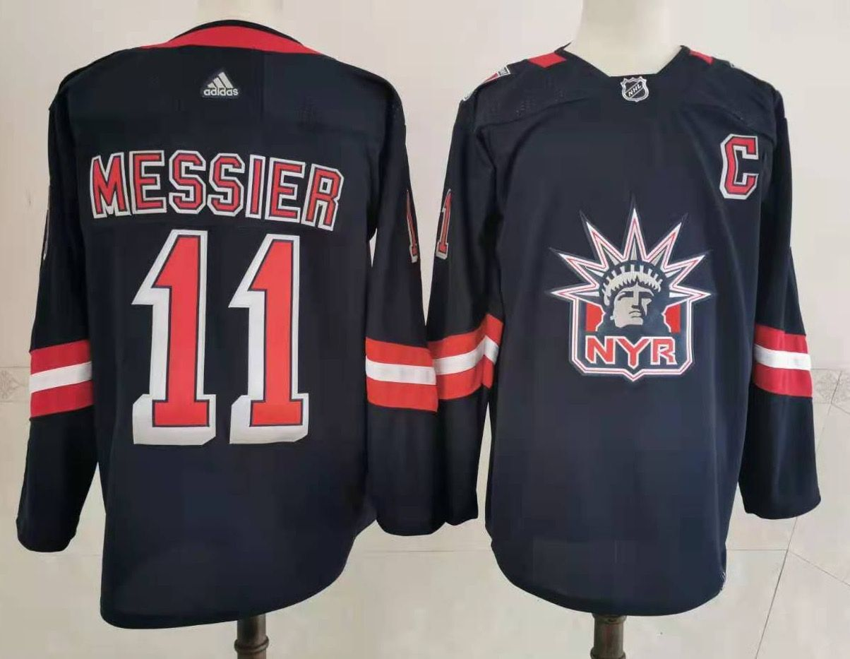 Men's New York Rangers #11 Mark Messier Navy Blue Adidas 2020-21 Stitched NHL Jersey