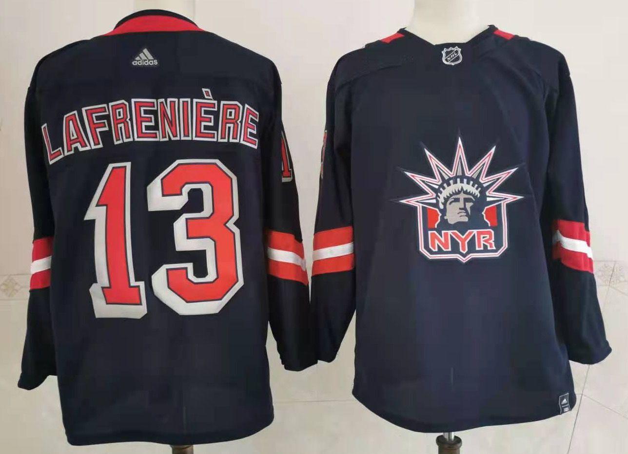 Men's New York Rangers #13 Alexis Lafreniere Navy Blue Adidas 2020-21 Stitched NHL JerseyL Jersey