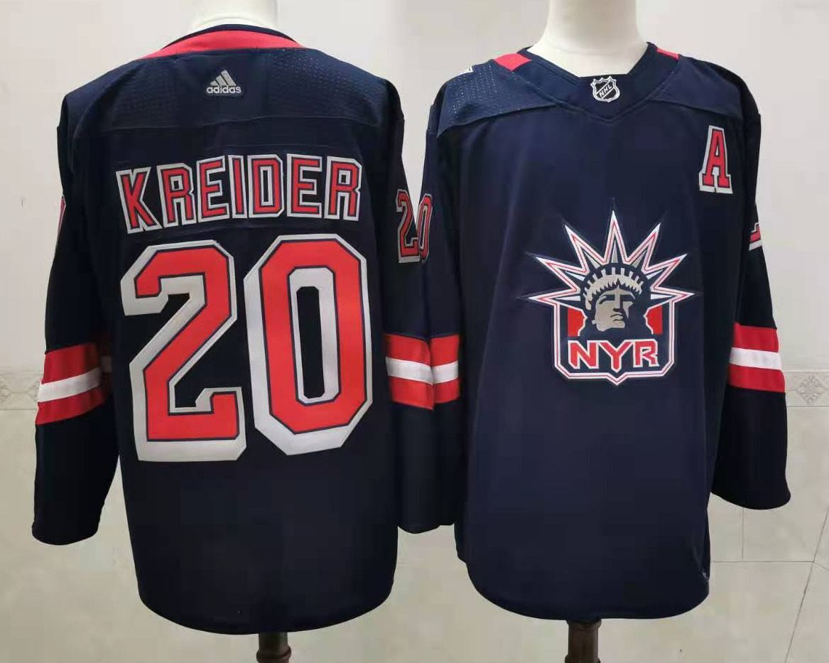 Men's New York Rangers #20 Chris Kreider Navy Blue Adidas 2020-21 Stitched NHL Jersey