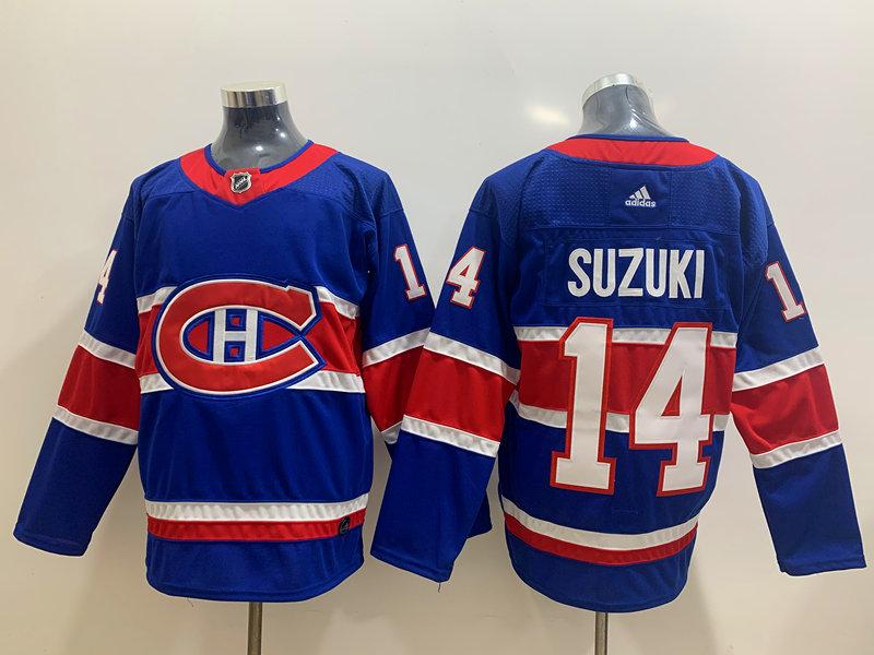 Men's Montreal Canadiens #14 Nick Suzuki Blue Adidas 2020-21 Alternate Authentic Player NHL Jersey