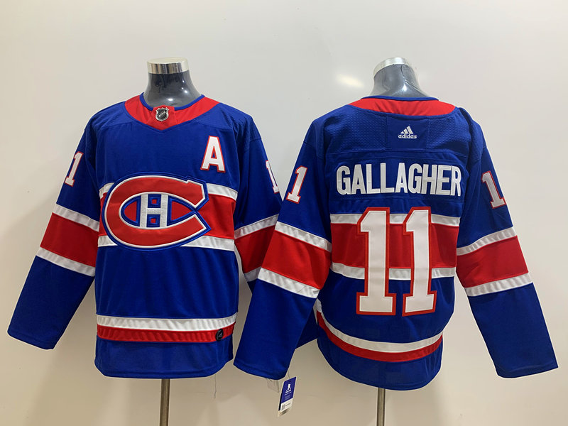 Men's Montreal Canadiens #11 Brendan Gallagher Blue Adidas 2020-21 Alternate Authentic Player NHL Jersey