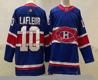 Men's Montreal Canadiens #10 Guy Lafleur Blue 2021 Retro Stitched NHL Jersey