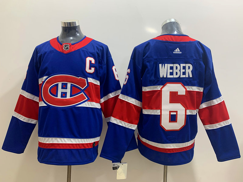 Men's Montreal Canadiens #6 Shea Weber Blue Adidas 2020-21 Alternate Authentic Player NHL Jersey