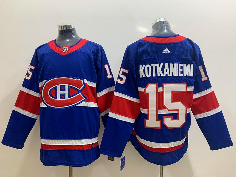 Men's Montreal Canadiens #15 Jesperi Kotkaniemi Blue Adidas 2020-21 Alternate Authentic Player NHL Jersey