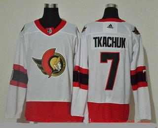 Men's Ottawa Senators #7 Brady Tkachuk White Adidas 2020-21 Stitched NHL Jersey