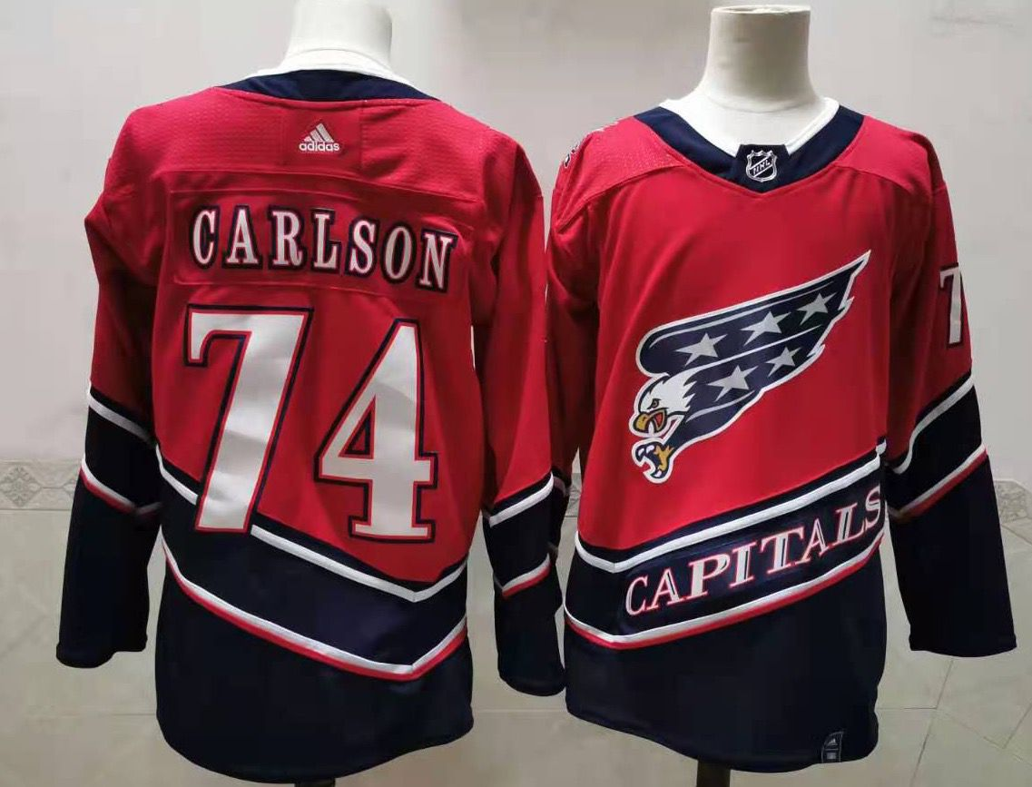 Men's Washington Capitals #74 John Carlson Red 2021 Retro Stitched NHL Jersey