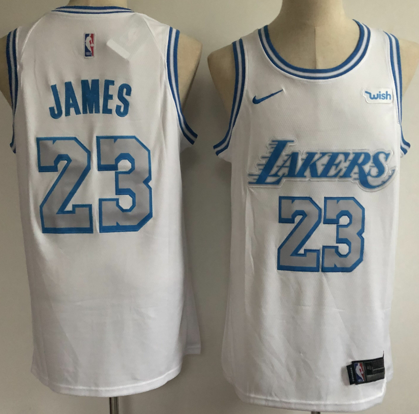 Men's Los Angeles Lakers #23 LeBron James White NEW 2021 Nike Wish City Edition Stitched Jersey