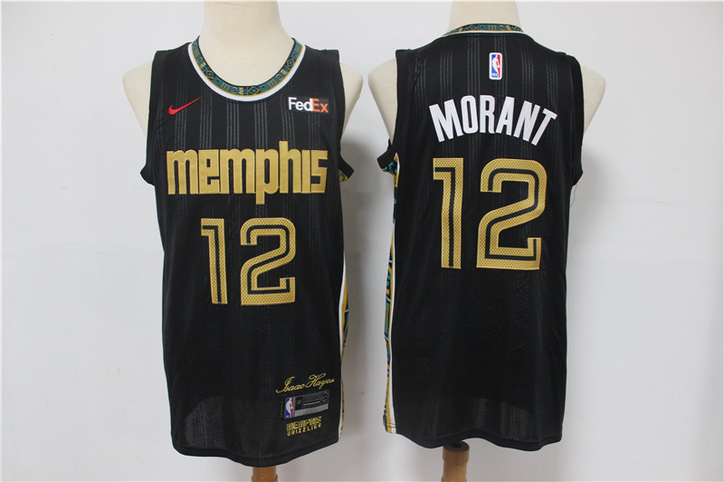 Men's Memphis Grizzlies #12 Ja Morant Black Nike 2021 NEW Swingman City Edition Jersey With The Sponsor Logo