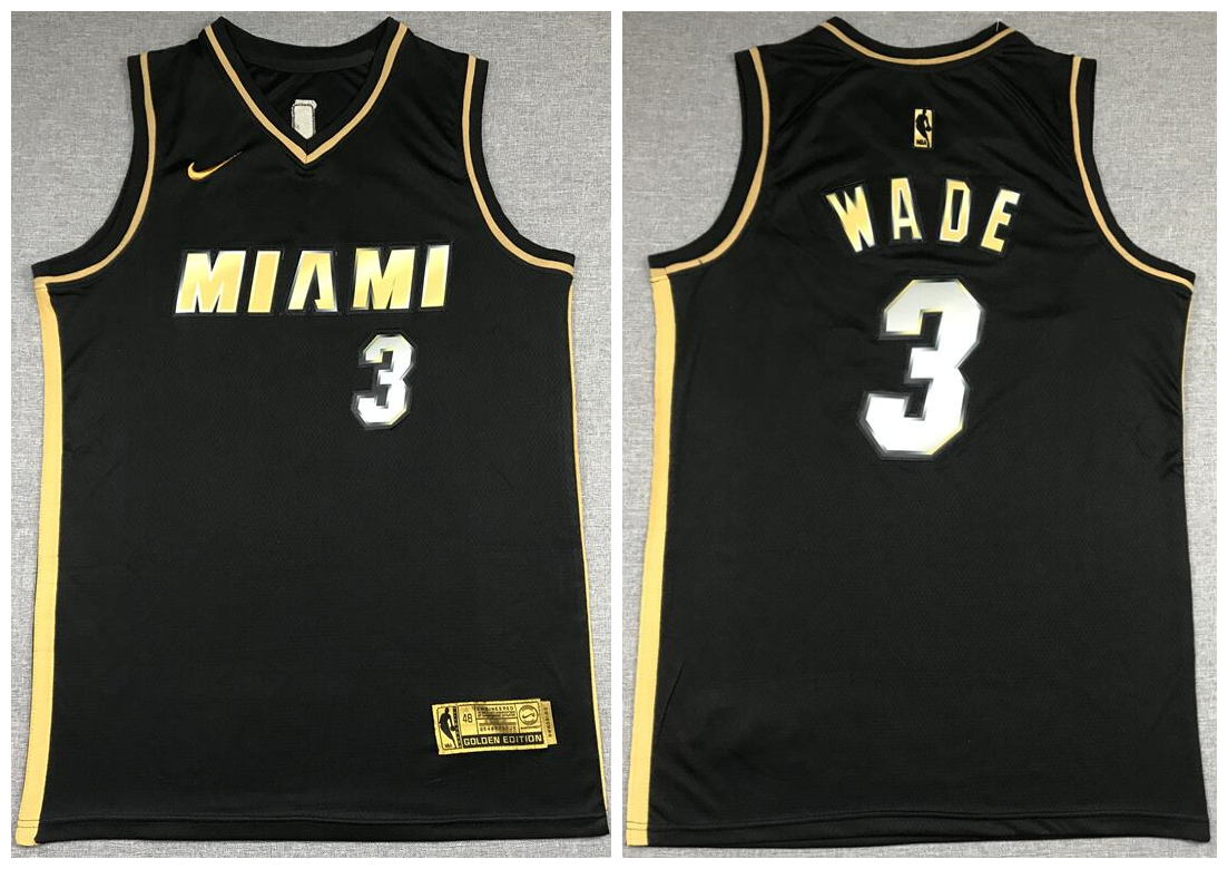 Men's Miami Heat #3 Dwyane Wade NEW 2020 Black Golden Edition Nike Swingman Jersey