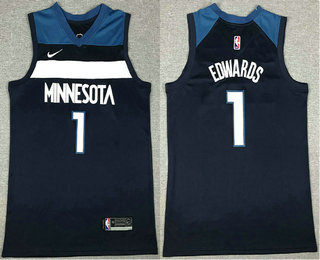 Men's Minnesota Timberwolves #1 Anthony Edwards Black 2021 Nike Swingman Stitched NBA Jersey