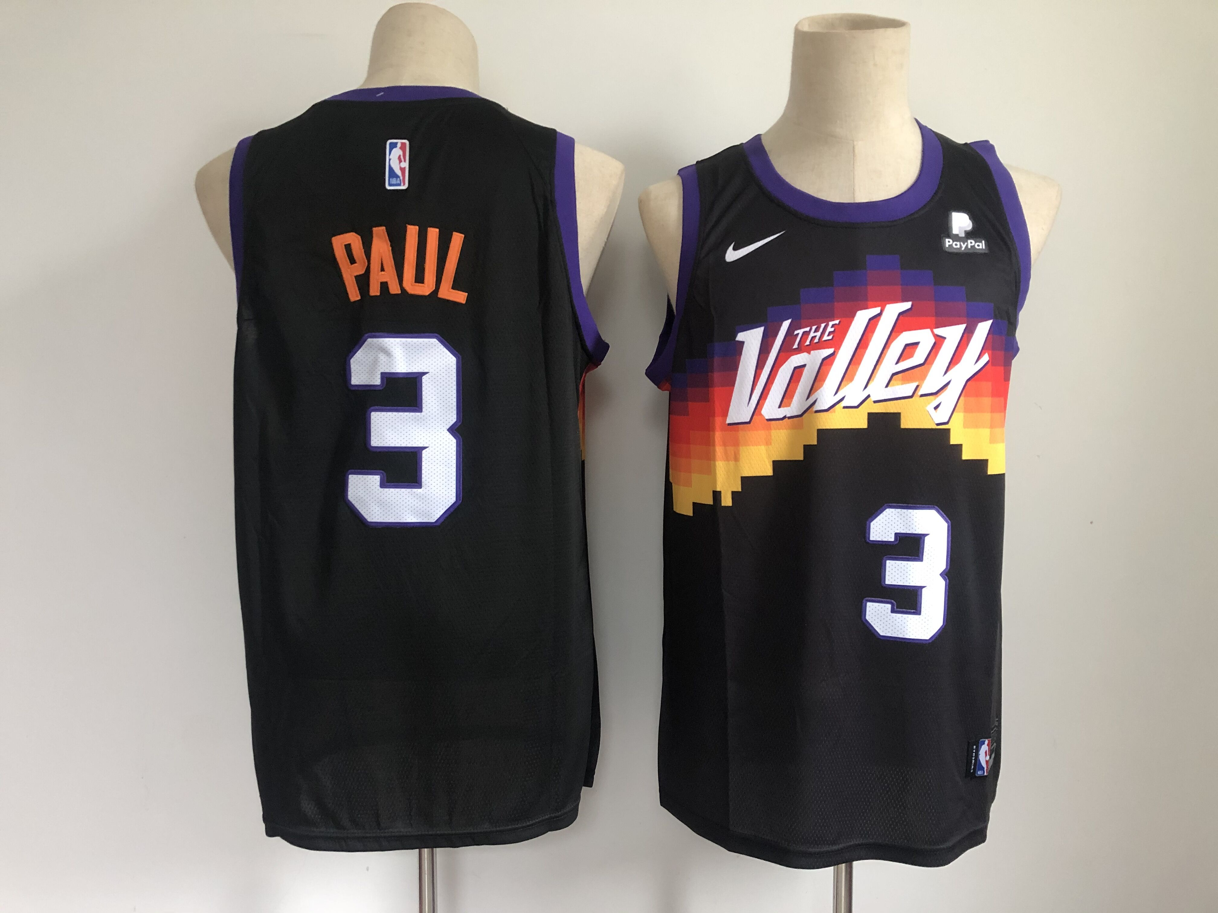 Men's Phoenix Suns #3 Chris Paul Black 2021 City Edition NBA Swingman Jersey With The Sponsor Logo