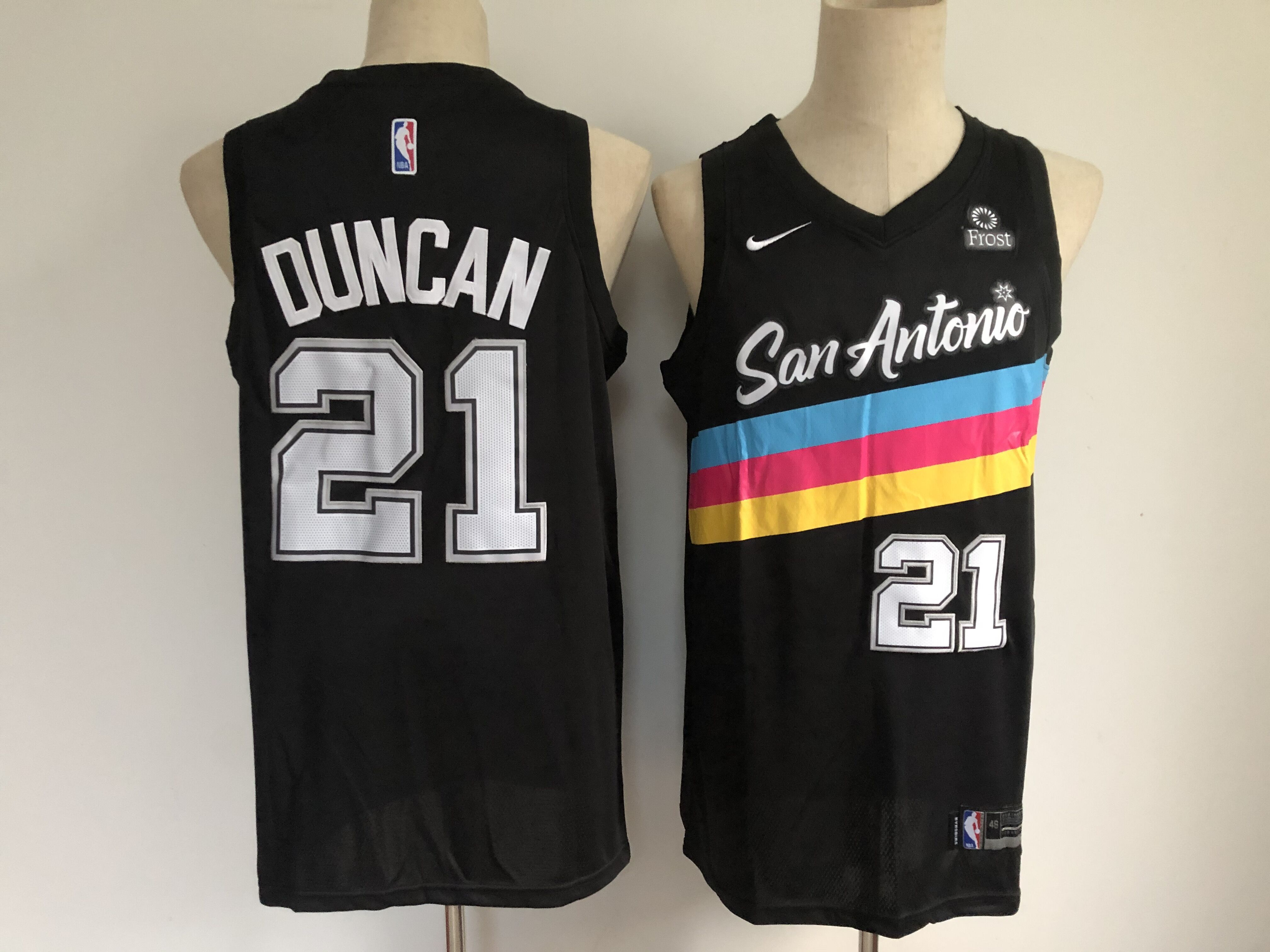 Men's San Antonio Spurs #21 Tim Duncan Black 2021 Nike City Edition Swingman Stitched NBA Jersey With The NEW Sponsor Logo