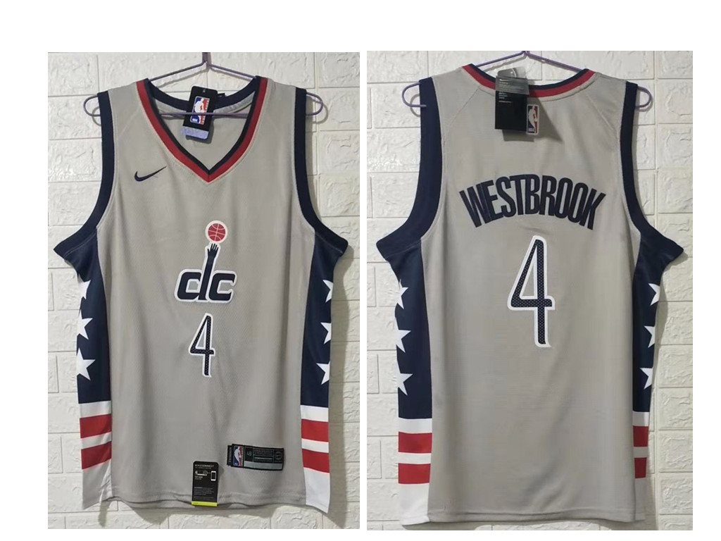 Men's Washington Wizards #4 Russell Westbrook NEW Grey 2021 City Edition NBA Swingman Jersey