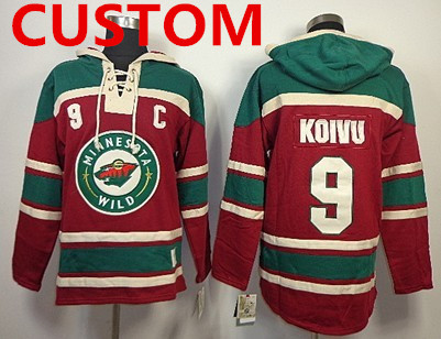 Custom Old Time Hockey Minnesota Wild Red Hoodie
