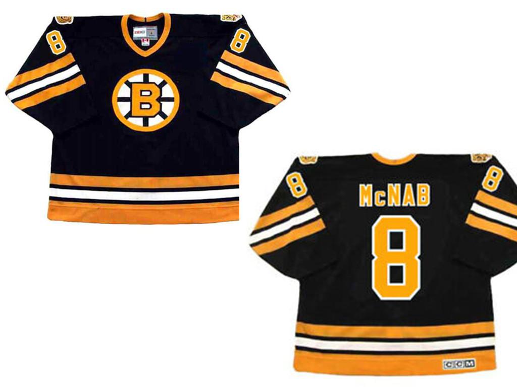 Boston Bruins #8 PETER McNAB 1978 CCM Vintage Throwback Away NHL Hockey Jersey