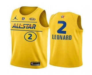Men's 2021 All-Star #2 Kawhi Leonard Yellow Western Conference Stitched NBA Jersey