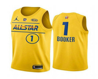 Men's 2021 All-Star #1 Devin Booker Yellow Western Conference Stitched NBA Jersey