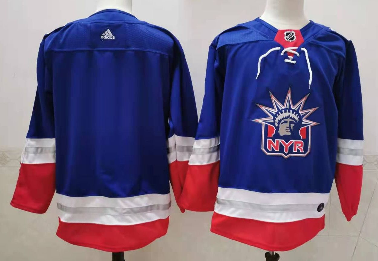 Men's New York Rangers Blank Light Blue 2021 Retro Stitched NHL Jersey