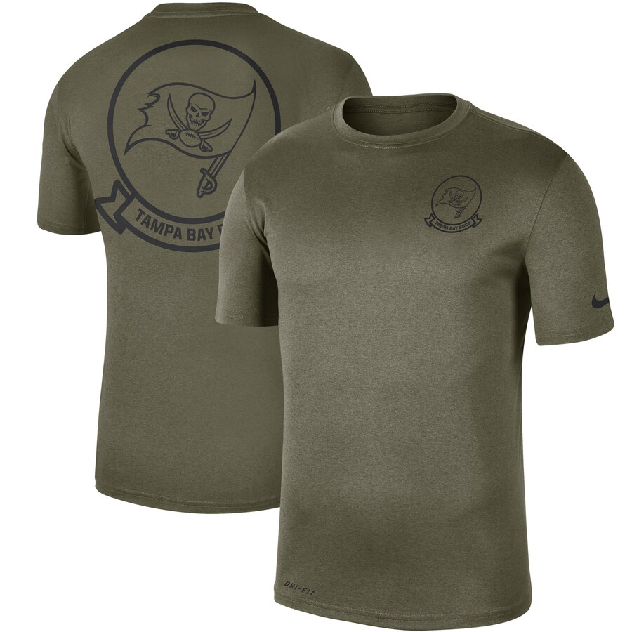 Men's Tampa Bay Buccaneers Nike Olive 2019 Salute to Service Sideline Seal Legend Performance T-Shirt