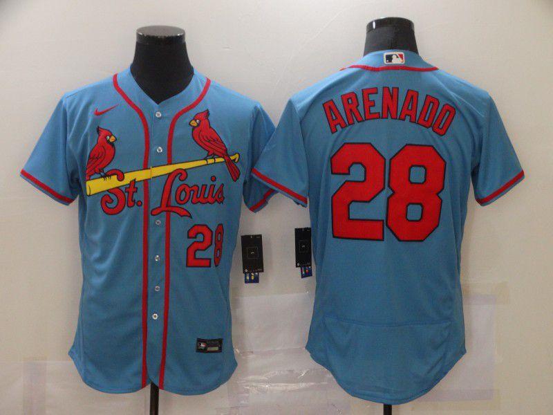Men's St. Louis Cardinals #28 Nolan Arenado Light Blue Stitched MLB Flex Base Nike Jersey