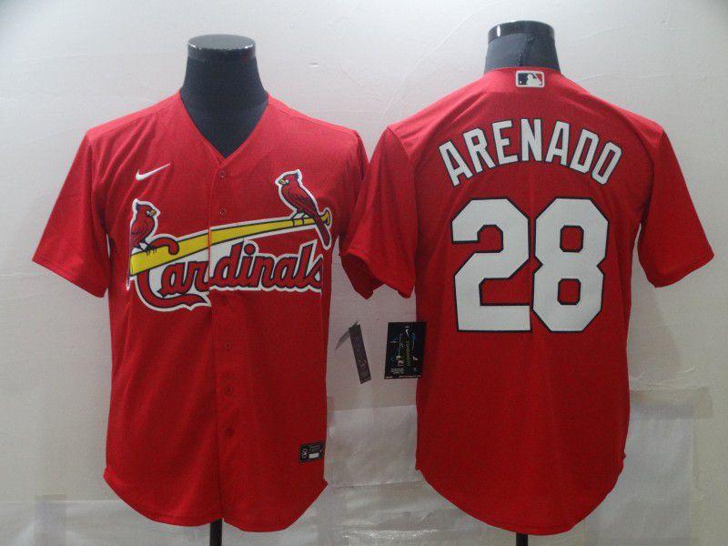 Men's St. Louis Cardinals #28 Nolan Arenado Red Stitched MLB Cool Base Nike Jersey