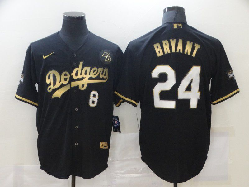Men's Los Angeles Dodgers #8 #24 Kobe Bryant Black Gold Stitched MLB Cool Base Nike Jersey