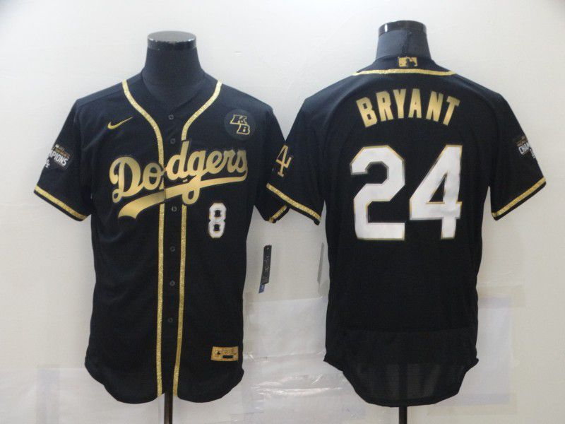 Men's Los Angeles Dodgers #8 #24 Kobe Bryant Black Gold Stitched MLB Flex Base Nike Jersey