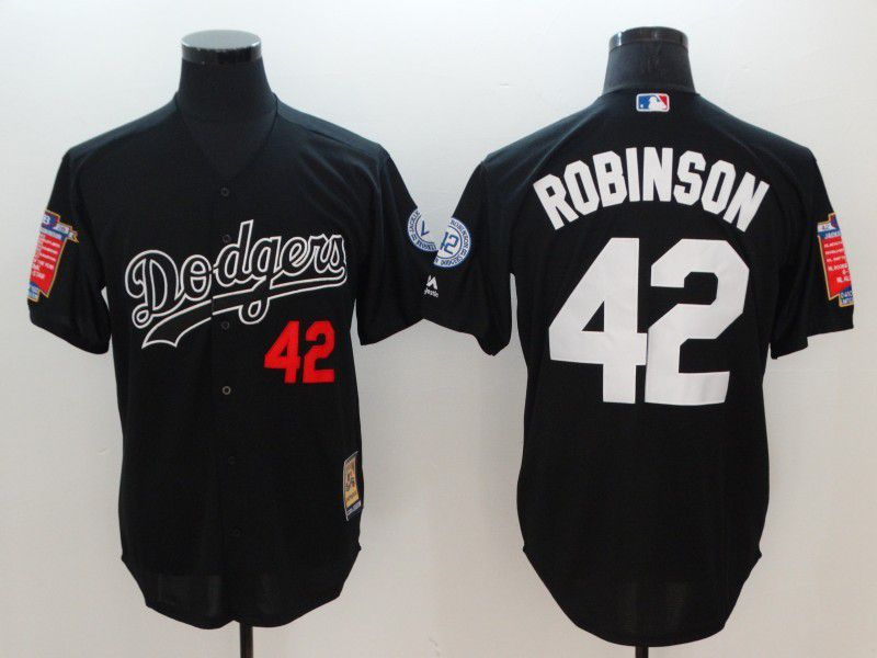Men Los Angeles Dodgers 42 Robinson Black Throwback MLB Jerseys
