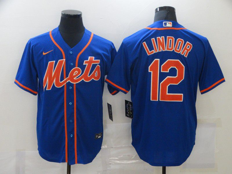 Men's New York Mets #12 Francisco Lindor Blue Stitched MLB Cool Base Nike Jersey