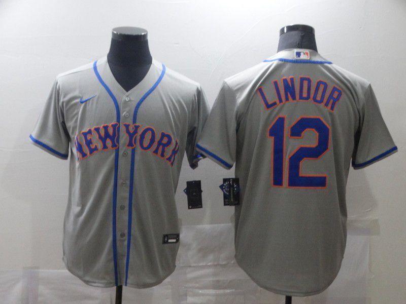 Men's New York Mets #12 Francisco Lindor Grey Stitched MLB Cool Base Nike Jersey