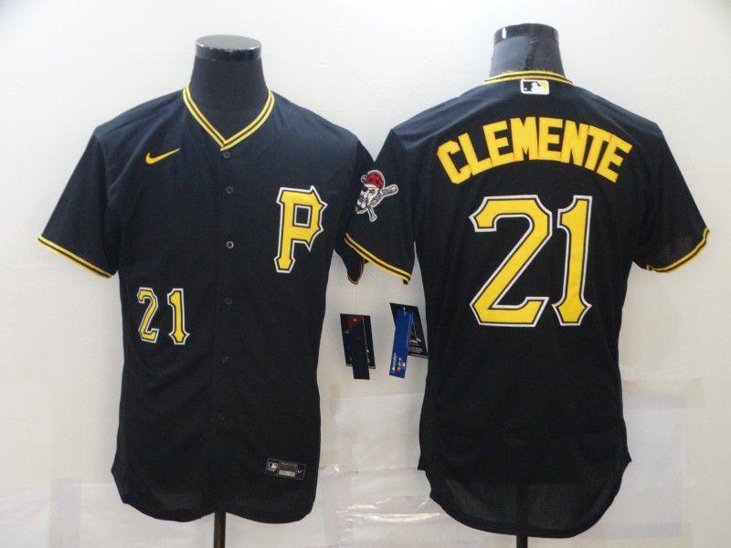 Men's Pittsburgh Pirates #21 Roberto Clemente Black Stitched MLB Flex Base Nike Jersey