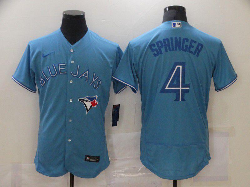 Men's Toronto Blue Jays #4 George Springer Blue Stitched MLB Flex Base Nike Jersey