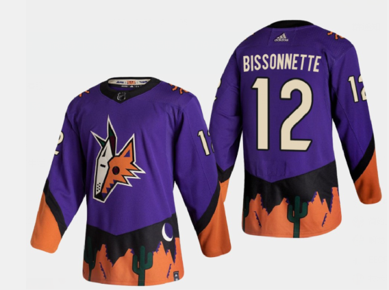 Men's Arizona Coyotes #12 Paul Bissonnette Reverse Retro 2020-21 Authentic Purple Jersey