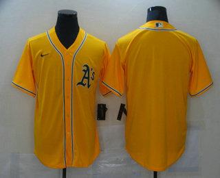 Men's Oakland Athletics Blank Yellow Stitched MLB Cool Base Nike Jersey