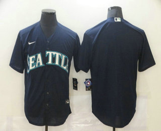 Men's Seattle Mariners Blank Navy Blue Stitched MLB Cool Base Nike Jersey