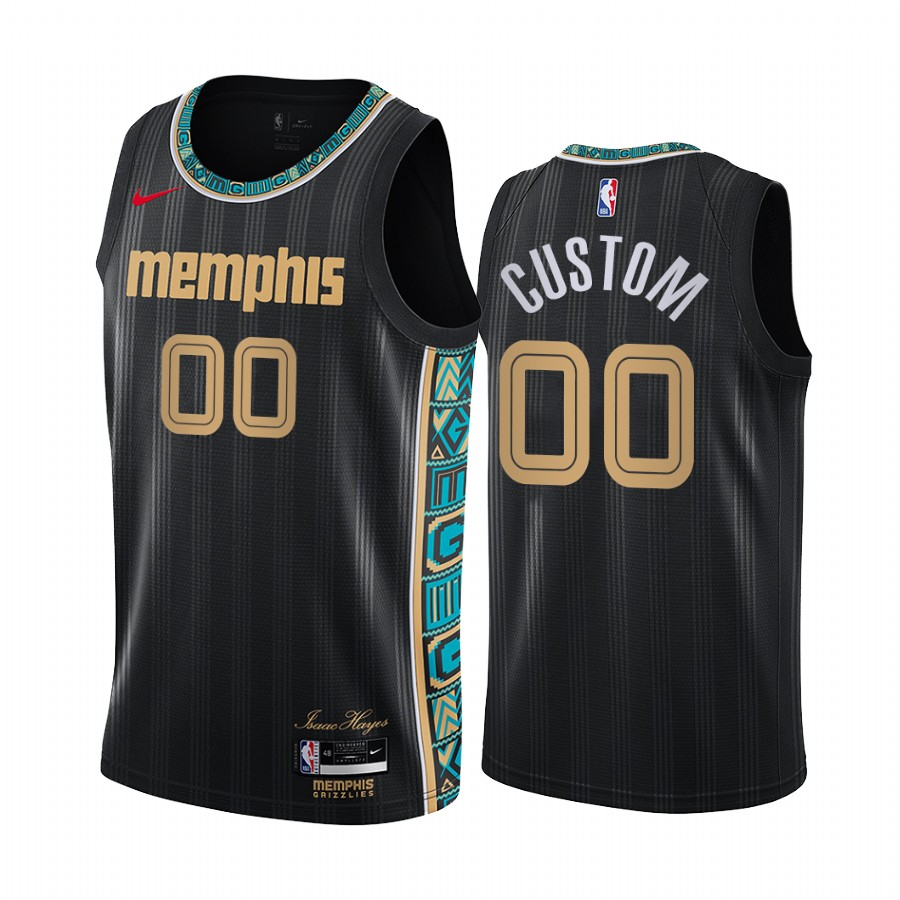 Men's Nike Grizzlies Custom Personalized Swingman Black NBA 2020-21 City Edition Jersey