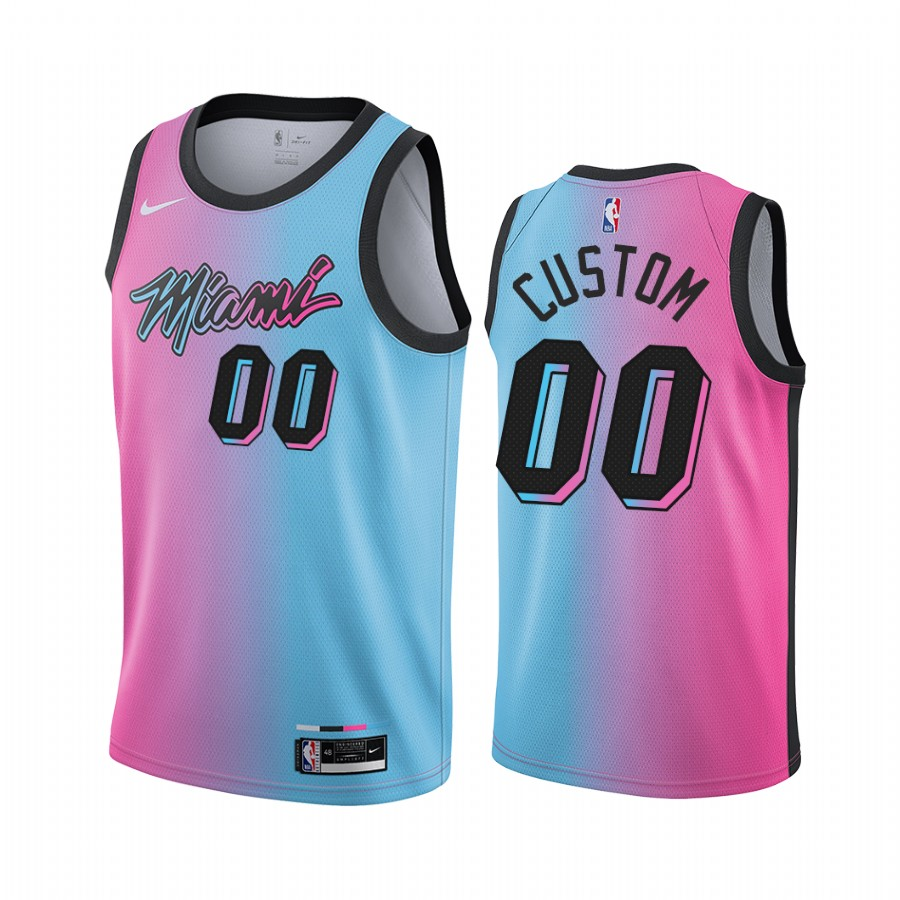 Men's Nike Heat Custom Personalized Blue Pink NBA Swingman 2020-21 City Edition Jersey