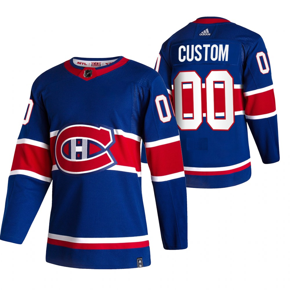Montreal Canadiens Custom Blue Men's Adidas 2020-21 Reverse Retro Alternate NHL Jersey