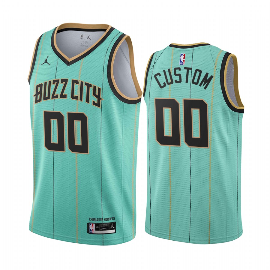Men's Nike Hornets Custom Personalized Mint Green NBA Swingman 2020-21 City Edition Jersey