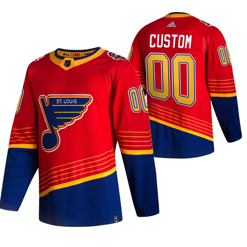 St. Louis Blues Custom Red Men's Adidas 2020-21 Reverse Retro Alternate NHL Jersey