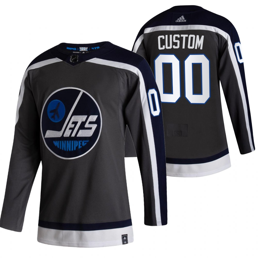 Winnipeg Jets Custom Black Men's Adidas 2020-21 Alternate Authentic Player NHL Jersey