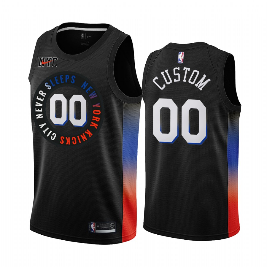 Men's Nike Knicks Custom Personalized Black NBA Swingman 2020-21 City Edition Jersey