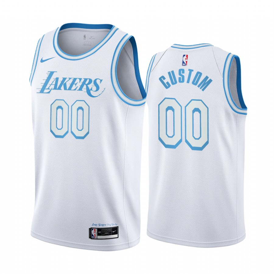 Men's Nike Lakers Custom Personalized White NBA Swingman 2020-21 City Edition Jersey