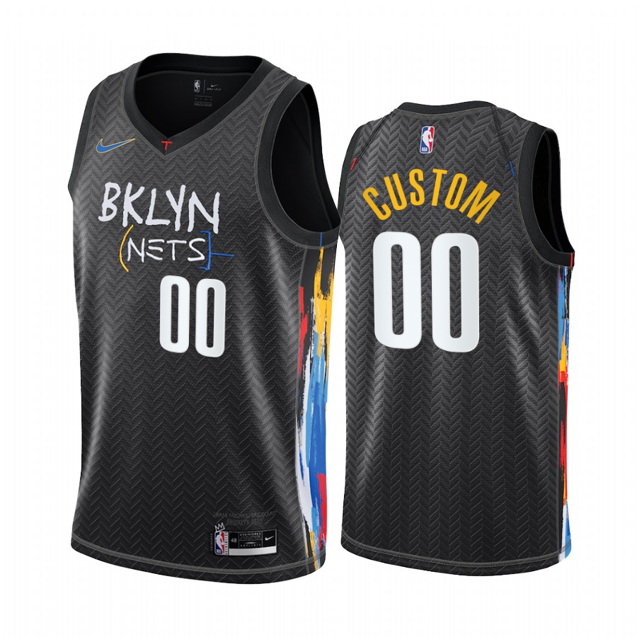 Men's Nike Nets Custom Personalized Black NBA Swingman 2020-21 City Edition Jersey