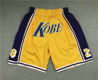 Men's Los Angeles Lakers #8 #24 Kobe Bryant Yellow Just Don Swingman Throwback Shorts