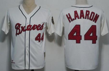 Big Size Atlanta Braves #44 Hank Aaron 1963 Cream Throwback Jersey