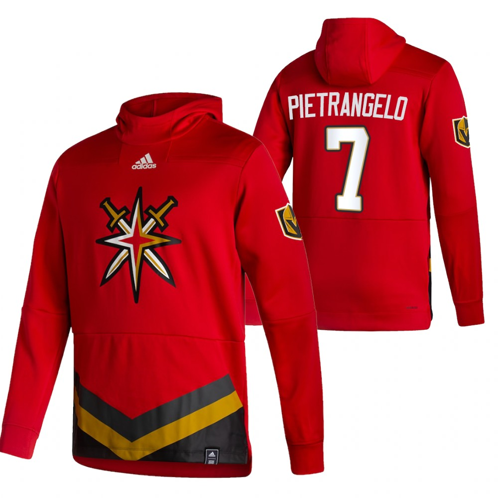 Vegas Golden Knights #7 Alex Pietrangelo Adidas Reverse Retro Pullover Hoodie Red