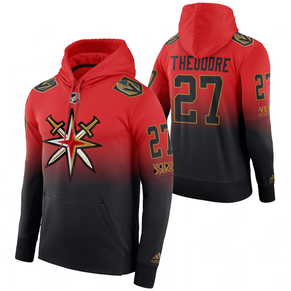 Vegas Golden Knights #27 Shea Theodore Adidas Reverse Retro Pullover Hoodie Red Black