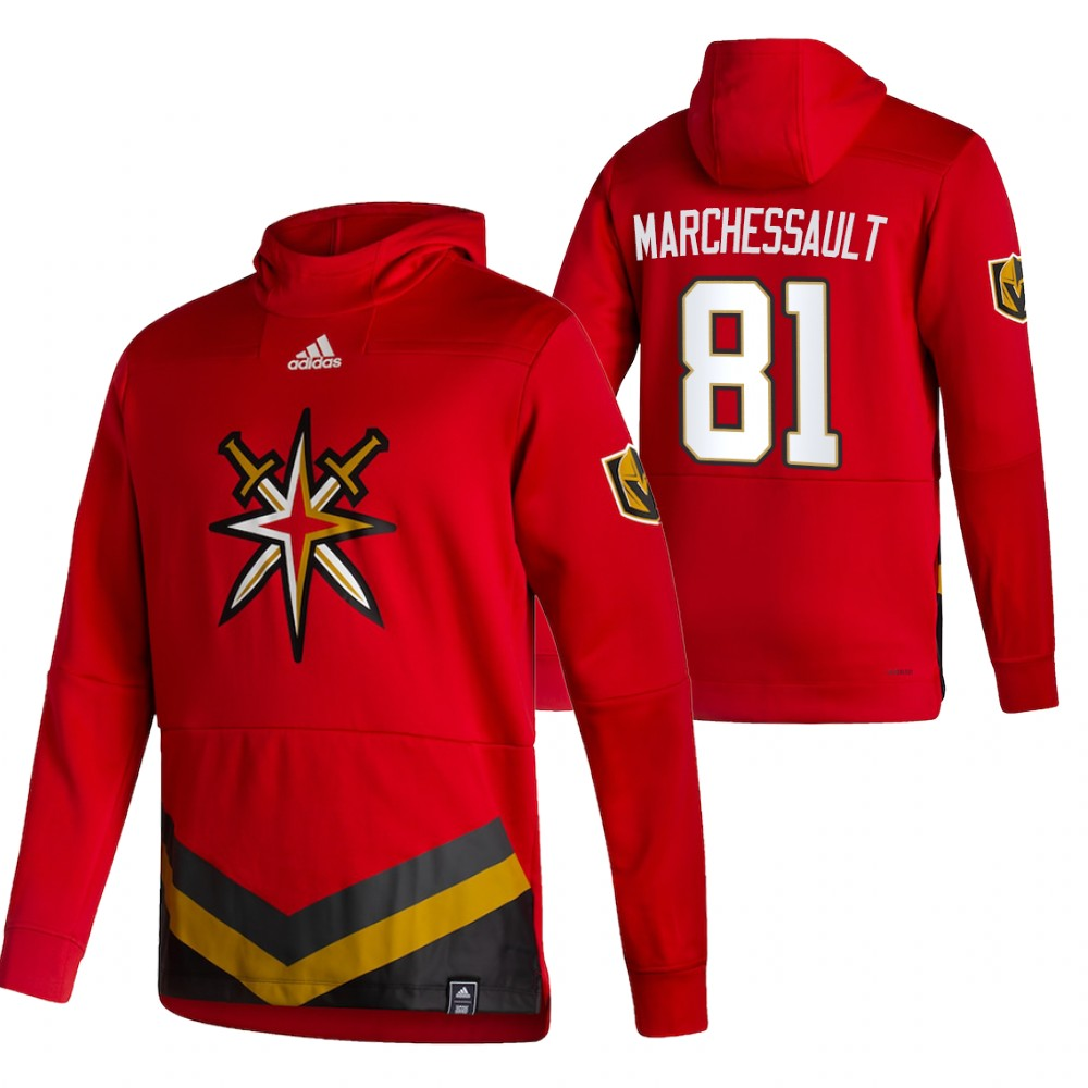 Vegas Golden Knights #81 Jonathan Marchessault Adidas Reverse Retro Pullover Hoodie Red