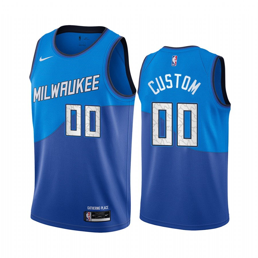 Men's Nike Bucks Custom Personalized Swingman Blue NBA 2020-21 City Edition Jersey